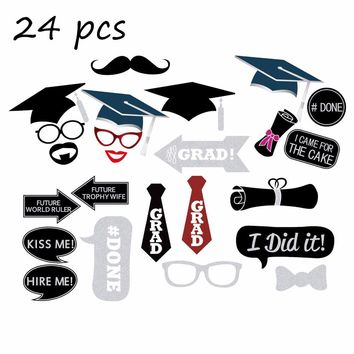 Tronzo New Design Graduation Photo Booth Props Bachelor Hat Cap Graduate Party Decoration Supplies 24pcs