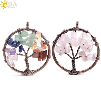 CSJA 7 Chakra Reiki Healing Tree of Life Pendant for Necklace Vintage Antique Copper Color Natural Stone Chip Bead Jewelry F084
