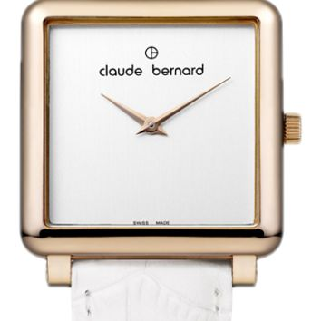 Claude Bernard 20062 37R A Women's Watch Swiss Made White Dial With White Leather Strap