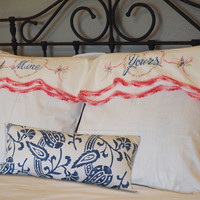 Vintage Embroidered Pillowcase Pair / White Yours & Mine / Shabby Chic Home Decor / Vintage Linens