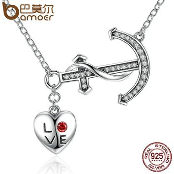 100% 925 Sterling Silver LOVE Heart & Anchor Pendant Necklaces For Women Fashion Wedding Jewelry SCN050