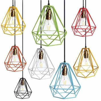Lamp Cover Loft Industrial Edison Metal Wire Frame Ceiling Pendant Hanging Light Lamp Lampshade Modern Cage Fixture