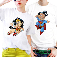 NSC-Superman and Wonder Woman Chibi Love Couples Matching Shirts, Couples T Shirts, Funny Couple Shirts