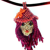 Redhead girl seed bead pendant necklace - red hat with orange flower - beautiful romantic beaded jewelry on leather cord - handmade beadwork