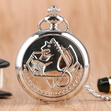 Retro Silver Quartz Pocket Watch Japanese Anime Fullmetal Alchemist With Necklace Fans Kid Gift For Clock