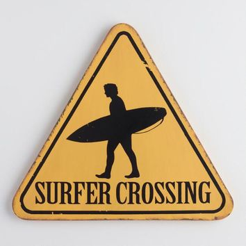 Yellow Surfer Crossing Sign Wall Decor