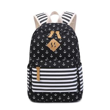 Canvas Backpack Feminine Fashion Bagpack Anchor Backpacks For Teenage Girls School Backpack female Teenagers Women's Backpacks