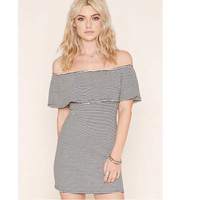 Stripe Off Shoulder Body-con Dress