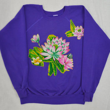 90s Tropical Floral Sweatshirt Kawaii Grunge 90s Applique Sweater Gold Glitter Women Vintage Clothing Tacky Granny Neon Bright Foliage