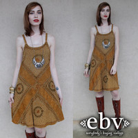 Vintage 90s Embroidered Tribal Hippie Boho Sun Dress S M L