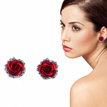 Elegant Charm Women Gold Plated 3 Colors Austrian Crystal Rose Pierced Stud Earrings For Gifts SM6