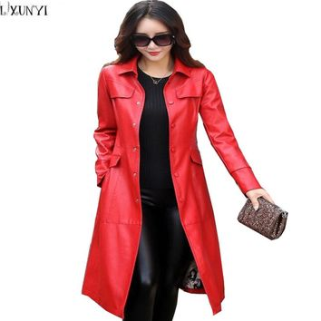 LXUNYI Korean Fashion Slim Long Leather Coat Women Trench Coats With Belt  Casual Plus Size Women's Leather jacket 3XL 4XL 5XL
