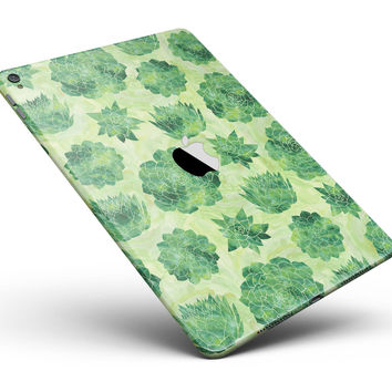 "Green Floral Succulents Full Body Skin for the iPad Pro (12.9"" or 9.7"" available)"