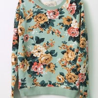 Floral Printed Basic Cotton French Terry Sweatshirt Pullover