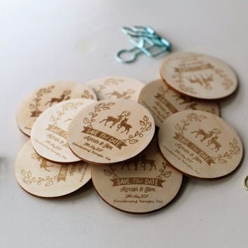 Rustic Love Deer Save the Date Magnets  Wedding Favors Gift Tags  Laser cut and Etched on Wood
