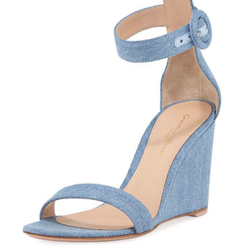 Gianvito Rossi Portofino Denim Wedge 85mm Sandal