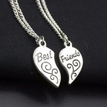 N736 Charming Matching Heart-shaped Pendant Necklace Best Friend Letter Women Gifts Fashion Jewelry Colar 2ps One Direction