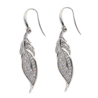 Dear Deer White Gold Plated Leaf Pave CZ Dangle Earrings