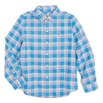 Vineyard Vines Keel Boat Plaid Beach Whale Shirt (Toddler Boys & Little Boys) | Nordstrom