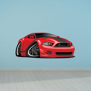 Ford Mustang Sports Car Cartoon 2 Wall Decal