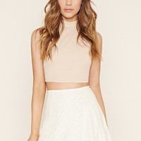 Circle-Patterned Lace Skirt