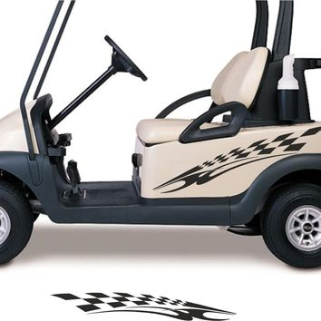 SPRING GREEN COLOR Golf Cart Go Cart Stickers Graphics Decals Tribal Flames Stripes GC90