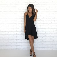 Deep In Love Hi Low Dress in Black