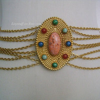 CHRISTIAN DIOR Gold Tone Multiple Chain Jeweled Buckle W/ Colorful Semi Precious Gemstones Cabochon Fancy Couture Runway Drape Belt Necklace