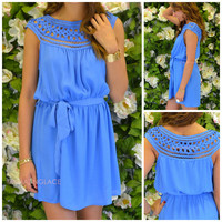 Lawson Applique Neckline Blue Dress