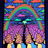 "Mushrooms and Butterflies Blacklight reactive tapestry / fabric poster - 23"" x 28"" - black light - trippy wall hanging"