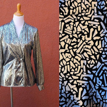 Vtg Metallic shawl blouse light coat wrap double breasted buttons silver black sparkly glitter shiny bold NYE