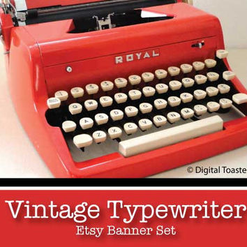 Etsy Banner Shop Set with Red Vintage Typewriter with Your Shop Name, Avatar and Banner