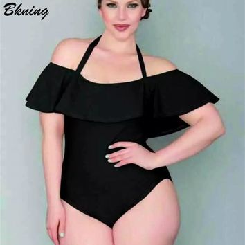 Ruffle Plus Size Swimwear Off The Shoulder One Piece Swimsuit 2018 Velvet Monokini Push Up Swim suit Vintage Beach Wear Bodysuit