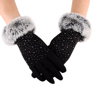 Womens Phone Touch Screen Gloves Elegant Faux Fur Outdoor Sport Warm Gloves For Women Guantes Mujer INY66