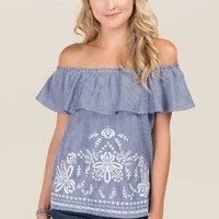 Caylie Embroidered Striped Off The Shoulder Top