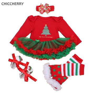 79c2ff98372 My First Christmas Baby Girl Outfits Long Sleeve Lace Romper Dress Headband  Leg Warmer Shoes Vetement