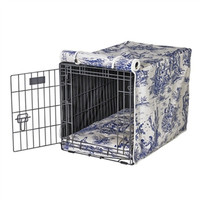 MicroVelvet Luxury Dog Crate Cover — Wedgewood Blue Toile