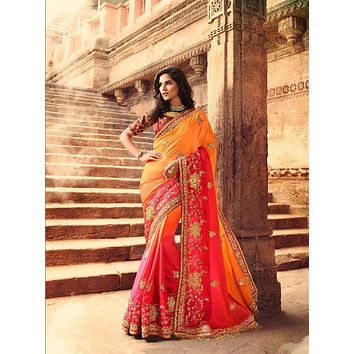 Orange Ombre Heavy Embroidered Luxurious Indian Pure Silk Wedding Sari - VIR13289