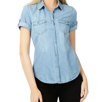 LE3NO Womens Cuffed Short Sleeve Chambray Denim Shirt