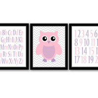 Owl Wall Art, Set of 3, Alphabet Print, Numbers Art, Girls Room, Nursery Decor, Kids Wall Art, Pink and Purple, Printable, INSTANT DOWNLOAD