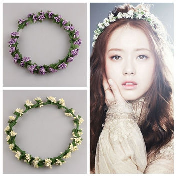Floral Garland Headband Flower Wedding Bridal Hair Band Festival Boho Beach Handmade Crown Garland Headband = 1704345796