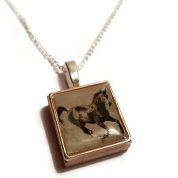 Horse necklace, Scrabble Necklace, Cowgirl Necklace, Running Horse,Horse Charm, Pony Necklace, Equestrian Necklace, Wild Horse
