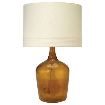 Jamie Young Company 1JAR-MDAM-2BDRUM-71CL Plum Jar Amber One-Light Title 24 Table Lamp with Classic Banded Drum Shade