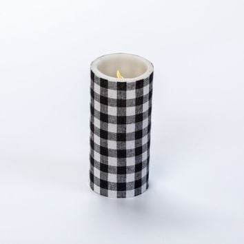 6 IN SMALL BLACK CHECK PILLAR CANDLE WITH TIMER