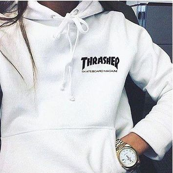 ThrasherFashion Casual Women Men Quality hooded sweater flame slide hip sweater Letters on the side White G