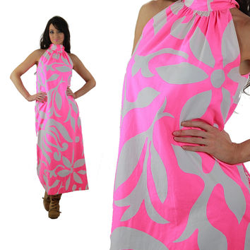 f17d691b5f Hawaiian Dress Vintage 1960s Mod Hot Pink White Floral Halter sl