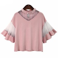 Pink Black Cotton with Mesh Patchwork Fashion Blouse Shirts For Women Cute Girls Summer Tops Blusas Kimono Clothing