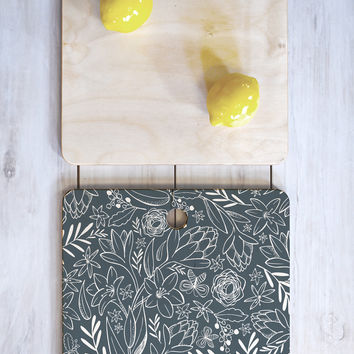 Heather Dutton Botanical Sketchbook Midnight Cutting Board Square