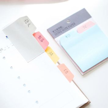 2 pcs/Lot Index sticky note 6 color 90 sheet memo pads Mini color sticker for diary Post-it marker Office School supplies F188