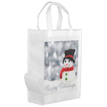 Holiday Snowman Grocery Bag